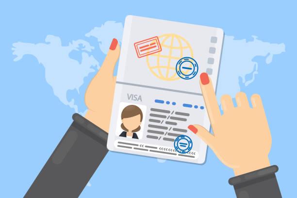 ilustraciones, imágenes clip art, dibujos animados e iconos de stock de visa de mujer. - pasaporte y visa