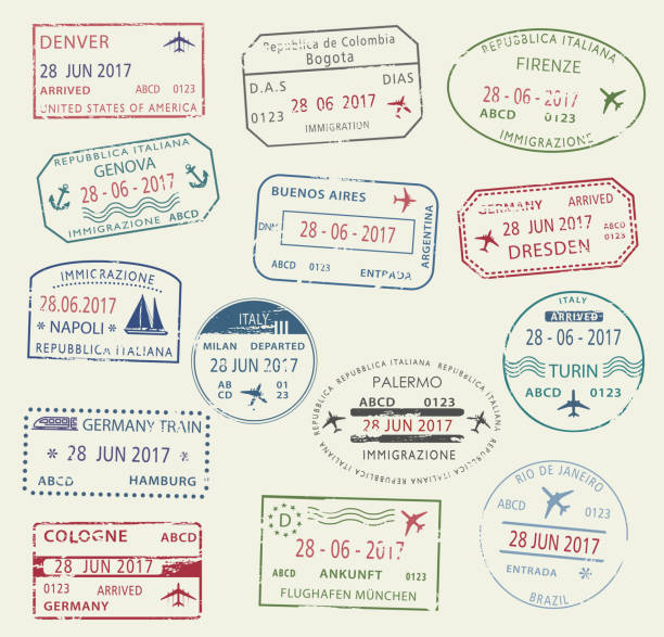 Visa passport stamp symbol set for travel design Visa passport stamp symbol set. International travel visa stamp of Italy, Germany, USA, Brazil and Colombia. Tourism, visa application, arrival document, vacation journey planning and traveling design airport borders stock illustrations