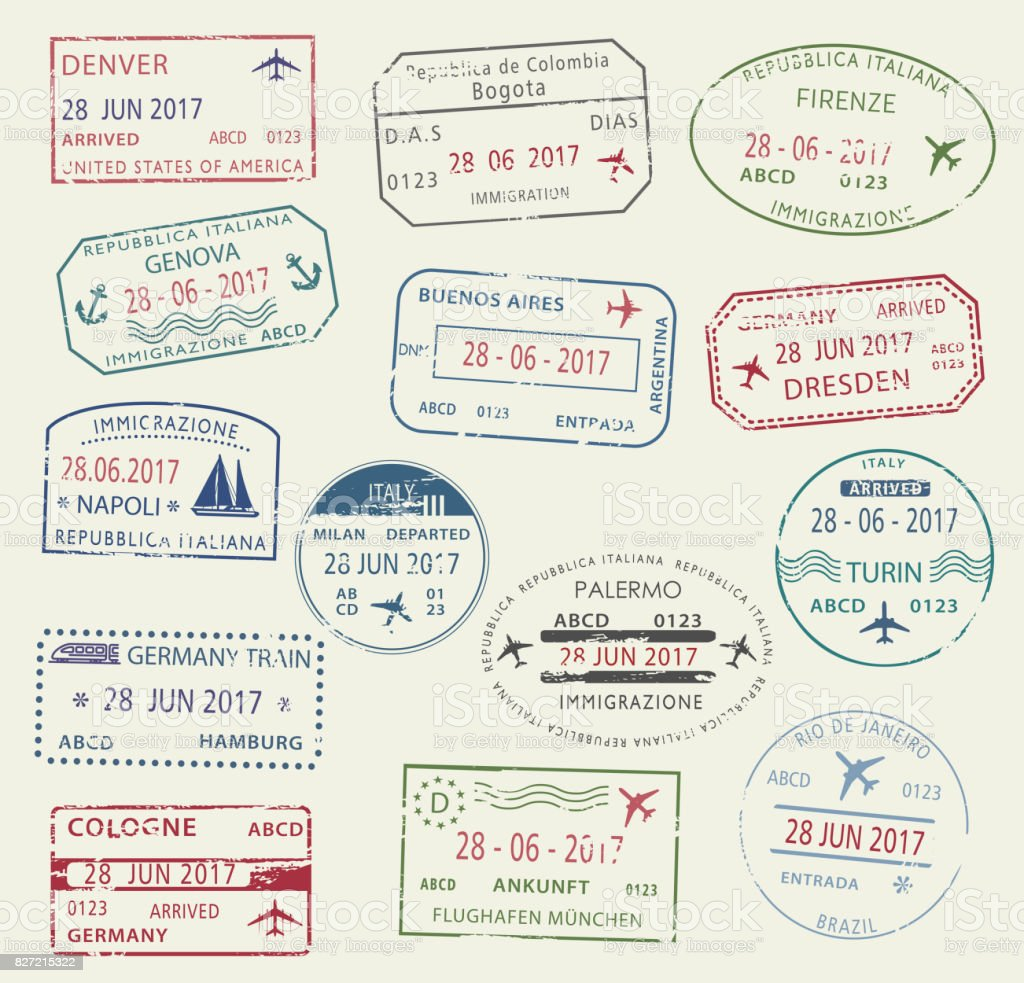 Visa passport stamp symbol set for travel design vector art illustration