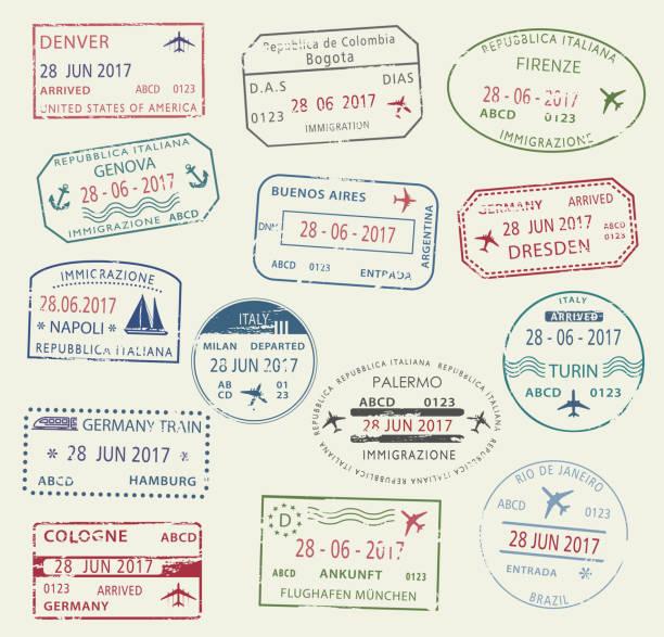 ilustraciones, imágenes clip art, dibujos animados e iconos de stock de símbolo de sello de pasaporte visa para viaje diseño - viaje a sudamérica