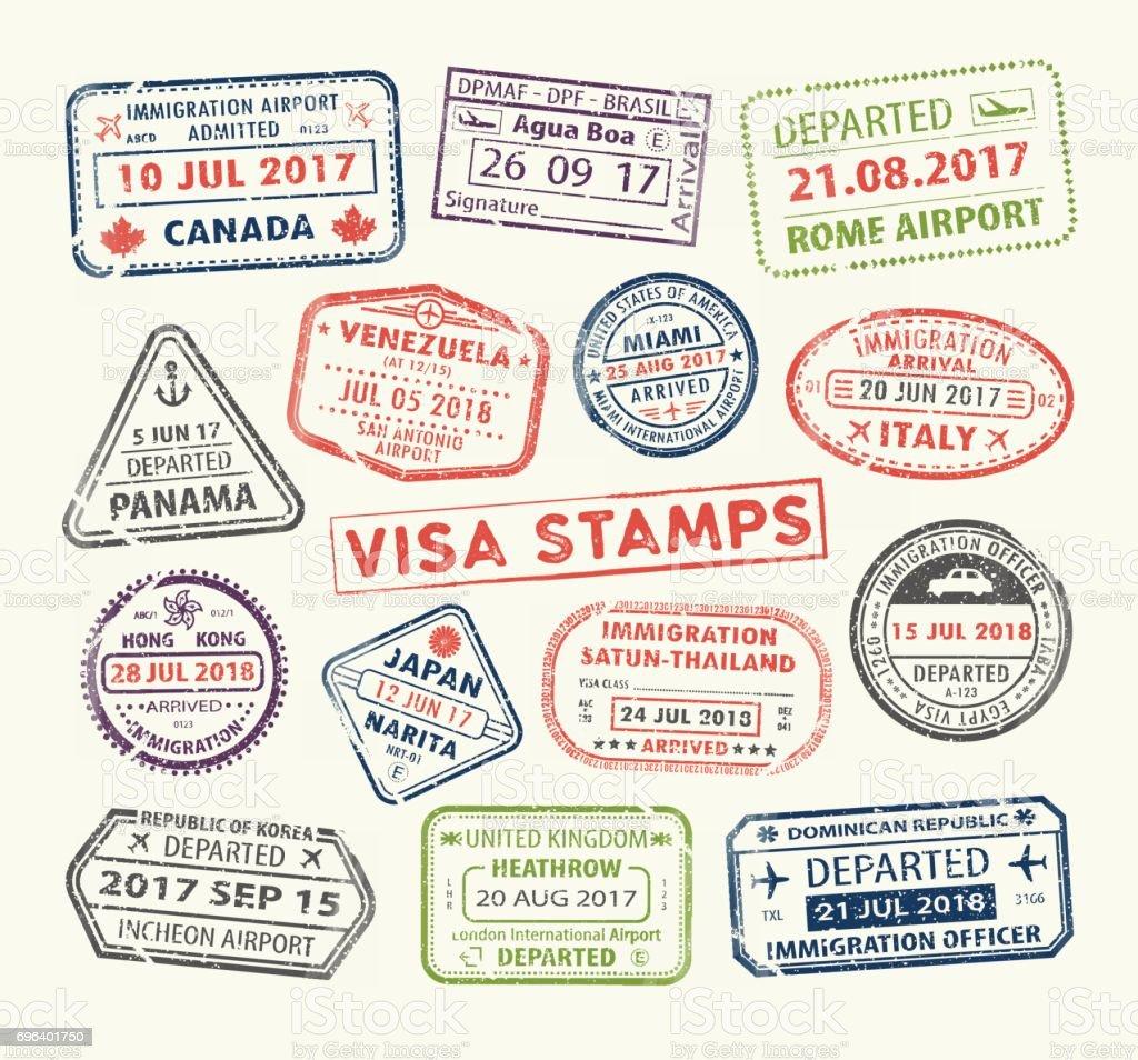 Visa passport stamp visa passport stamp - immagini vettoriali stock e altre immagini di aeroplano royalty-free
