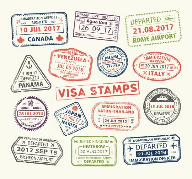 Visa passport stamp Isolated set of visa passport stamp for travel to Canada or USA, Uk or China, Venezuela or Dominican republic, Japan or Egypt, Korea or Brasil, Italy or Tailand. Tourism icon. Airport sign. Vector. airport borders stock illustrations