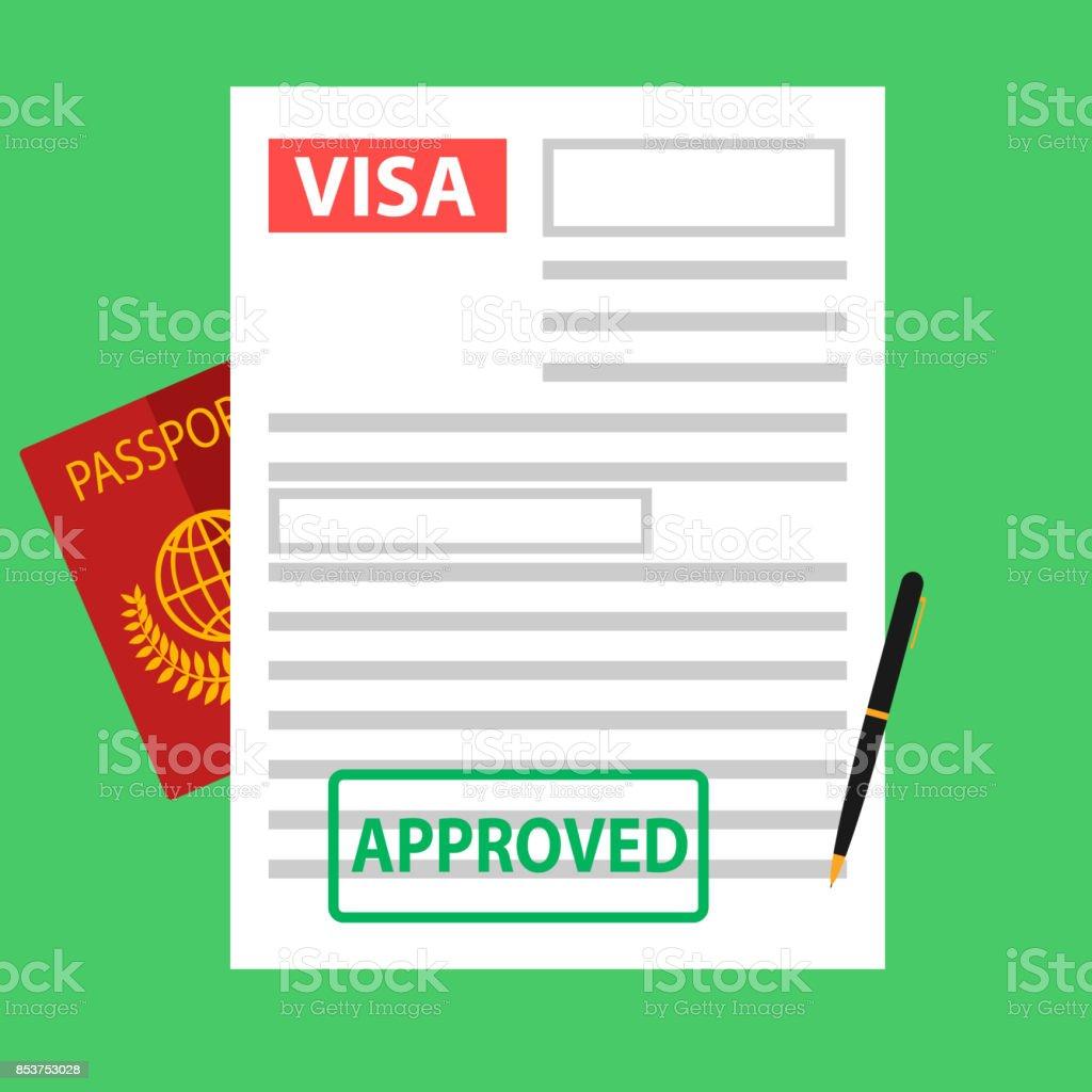 Visa, registration of documents for immigration, passport. vector art illustration