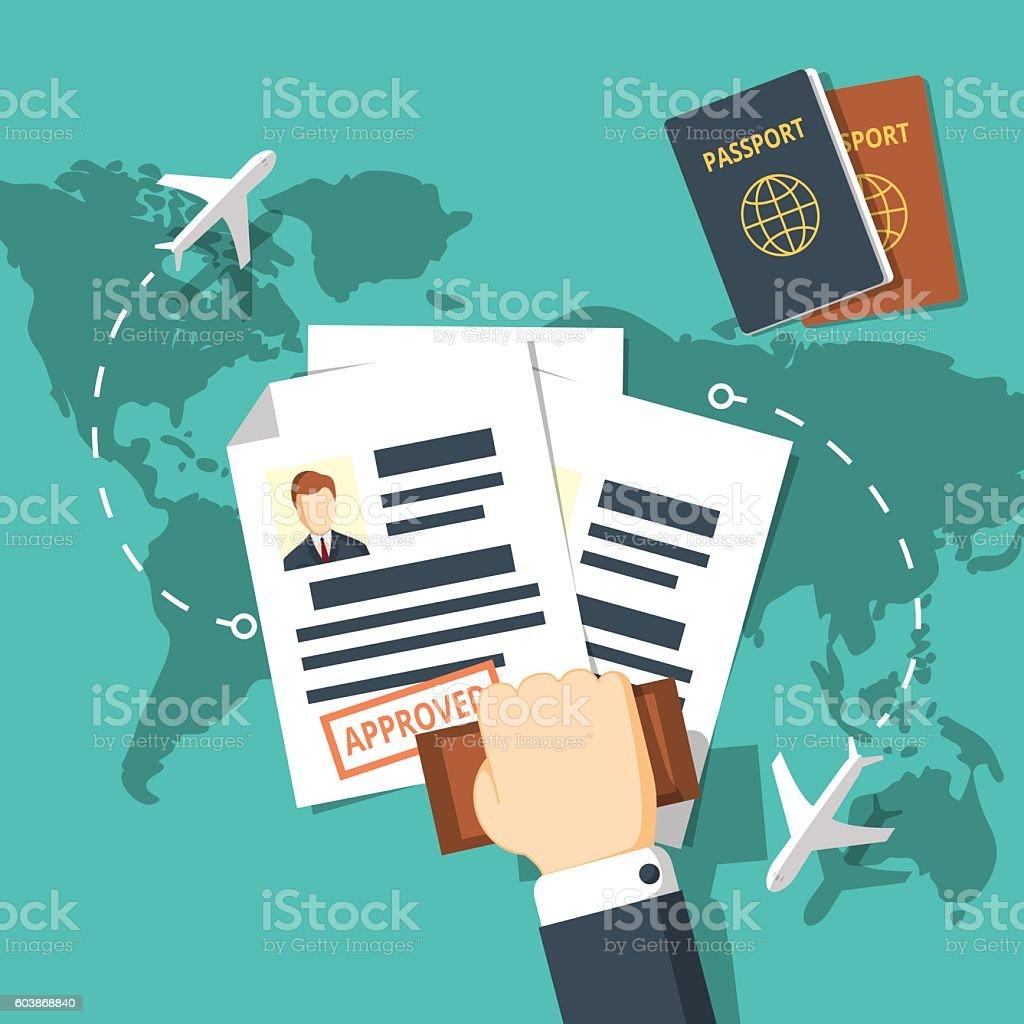 Visa stamping vector illustration. vector art illustration