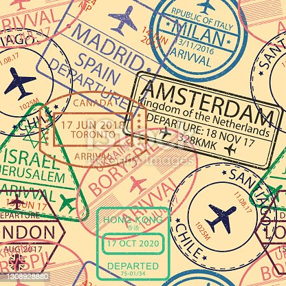 istock Visa stamps seamless pattern. Background with airport stamp for passport. Immigration and travel visa sign backdrop. Vector illustration. 1308928880