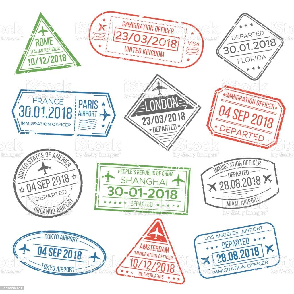 Ilustración de Visa Viajes Cachet Pasaporte Signos O Sellos De ...