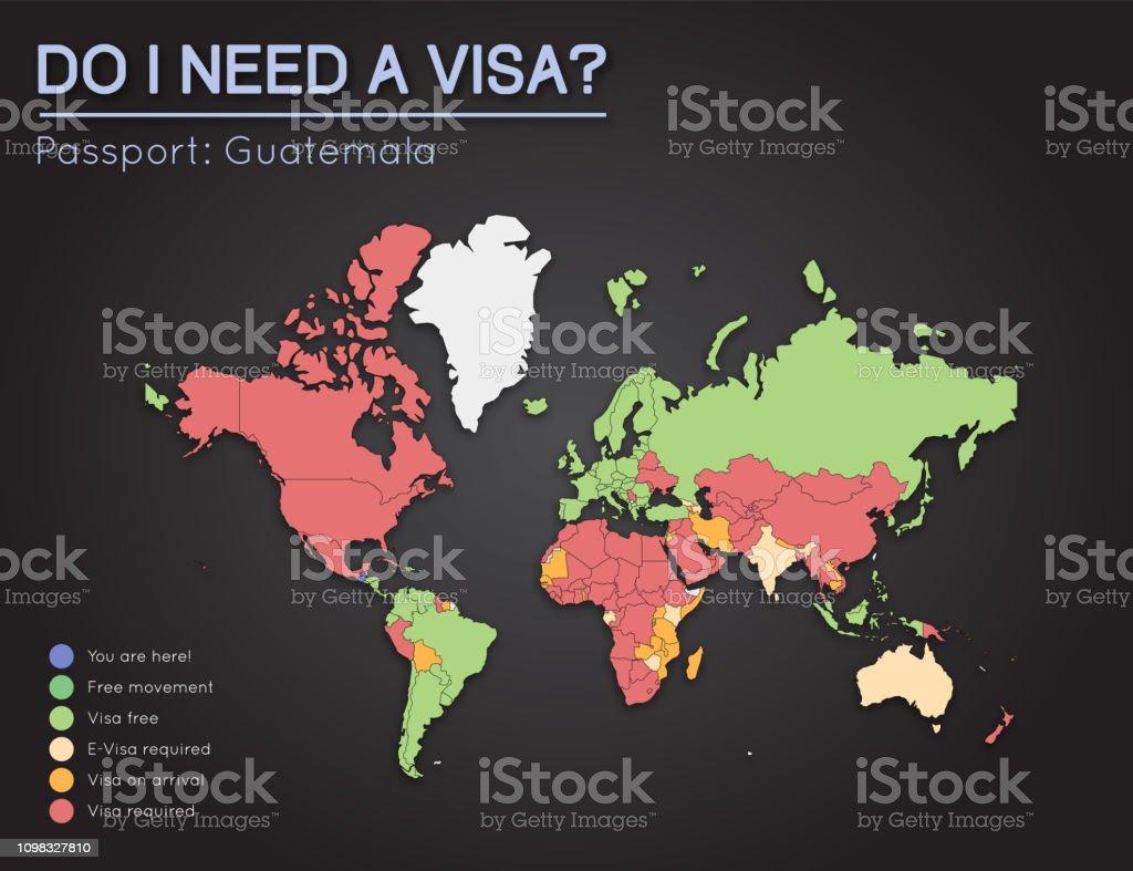 グアテマラ共和国のパスポート保持者のビザ情報 - 2017年のベクター ...