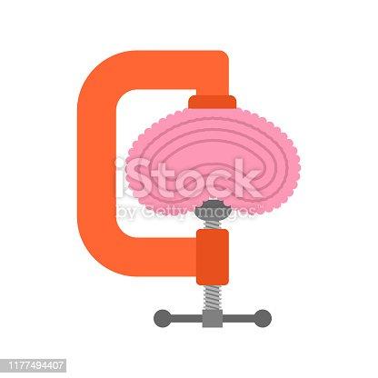 Vise brains isolated. concept Headache and stress. Brainstorm Symbol Idea