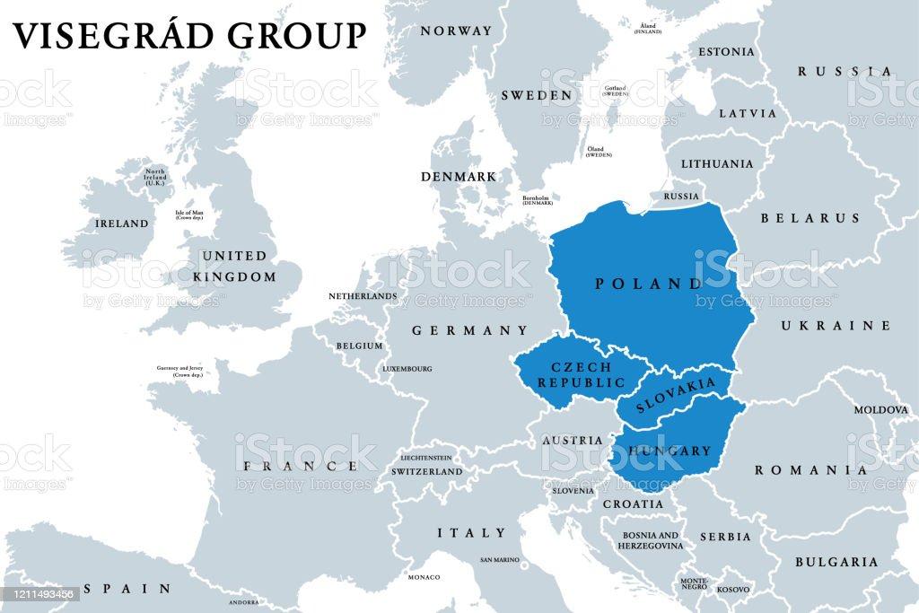Groupe de Visegrâd, Visegrâd Four, V4 états membres carte politique - clipart vectoriel de Visegrád libre de droits