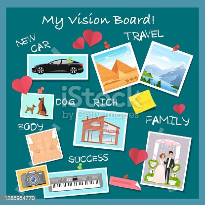 istock Vision board, collage with dreams and goals vector illustration. Cartoon flat visionary examples of financial business success, travel achievements, happy family wedding, motivation for body training 1285954770