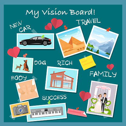 Vision board, collage with dreams and goals vector illustration. Cartoon flat visionary examples of financial business success, travel achievements, happy family wedding, motivation for body training
