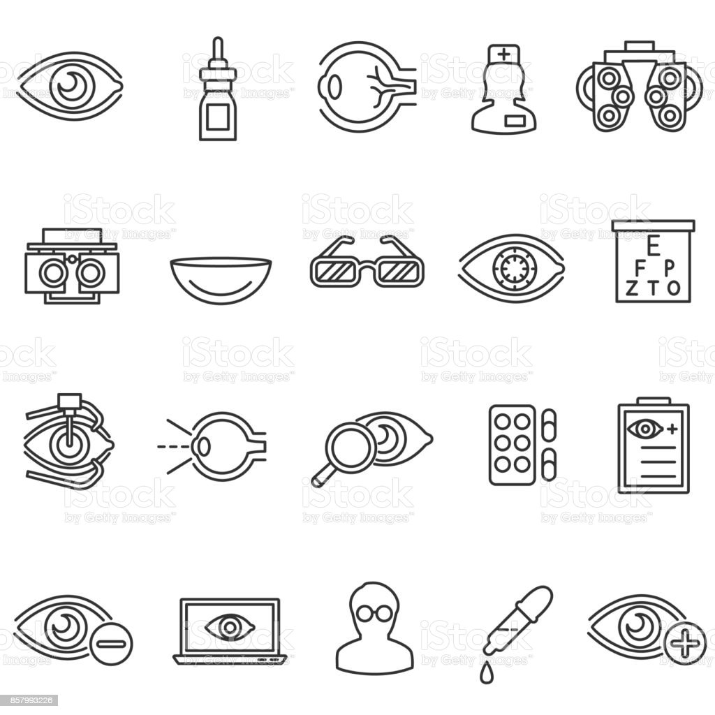 vision care icons set. vector art illustration