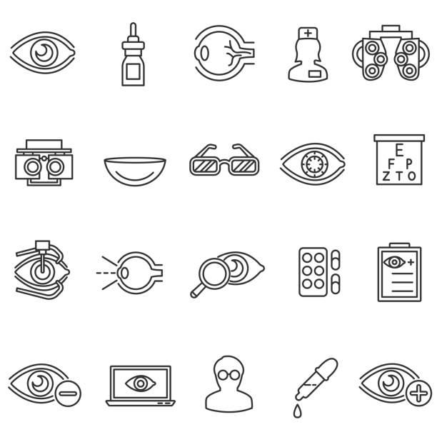 ilustraciones, imágenes clip art, dibujos animados e iconos de stock de conjunto de iconos de atención visión. - optometrista