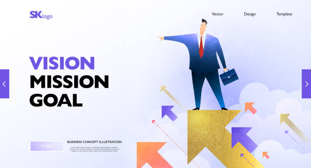 Vision concept banner. Businessman standing on the golden arrow sign looking forward to the future goal. Business inspirational concept art. Conceptual vector illustration for design use. Business vector illustration. mission church stock illustrations