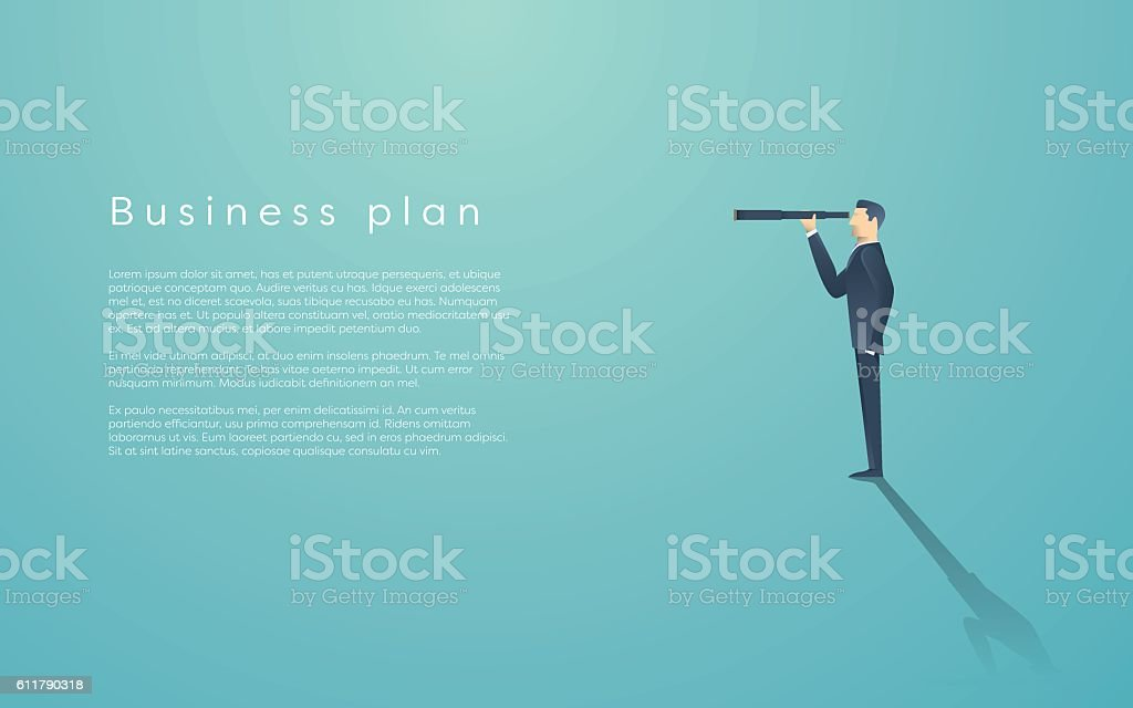 Vision concept in business with vector icon of businessman and vector art illustration