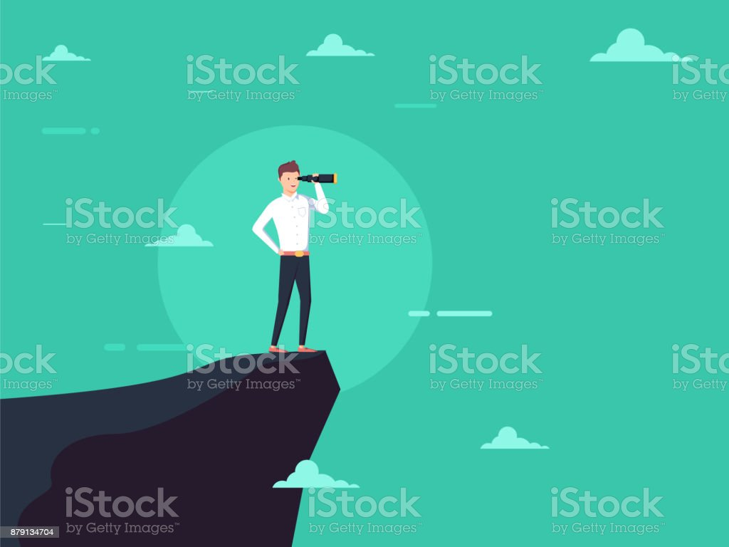 Vision concept in business with vector icon of businessman and telescope, monocular. Symbol leadership vector art illustration