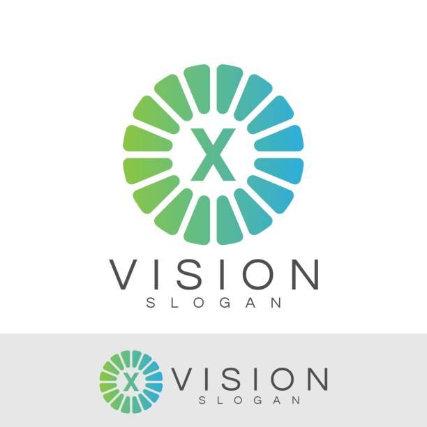 ilustraciones, imágenes clip art, dibujos animados e iconos de stock de diseño de icono de visión inicial letra x - logotipos de investigación