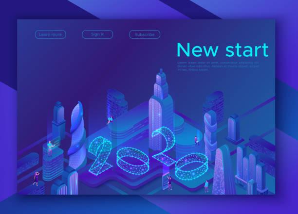 illustrations, cliparts, dessins animés et icônes de vision 2020 isometric smart city, concept futuriste 3d, numéro de néon rougeoyant bleu, affiche technolodgy ai future, calendrier du nouvel an ou bannière, illustration vectorielle - calendrier de l'avant