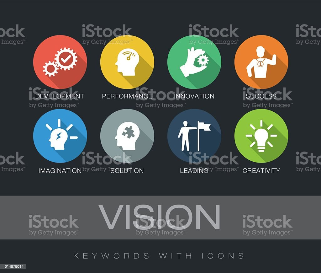 Vision keywords with icons vector art illustration