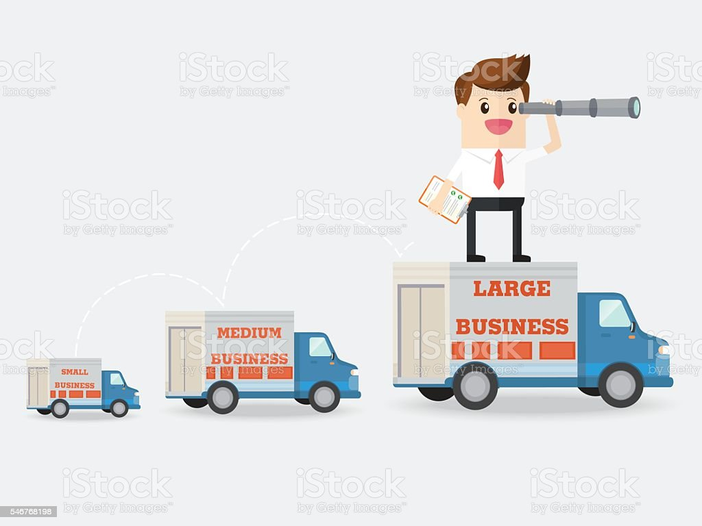 vision of businessman growing small to medium and large business - Illustration vectorielle