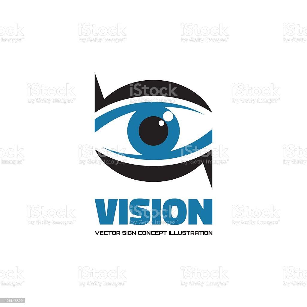 Vision - vector sign creative illustration. Eye concept sign. vector art illustration