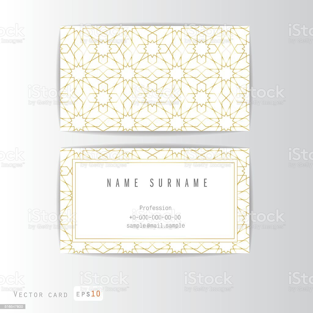 Carte De Visite Ensemble Decoration Arabe Cliparts