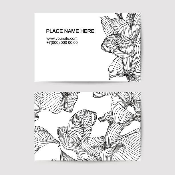 Modèle de carte de visite avec lys blanc pour un fleuriste salon de beauté - Illustration vectorielle
