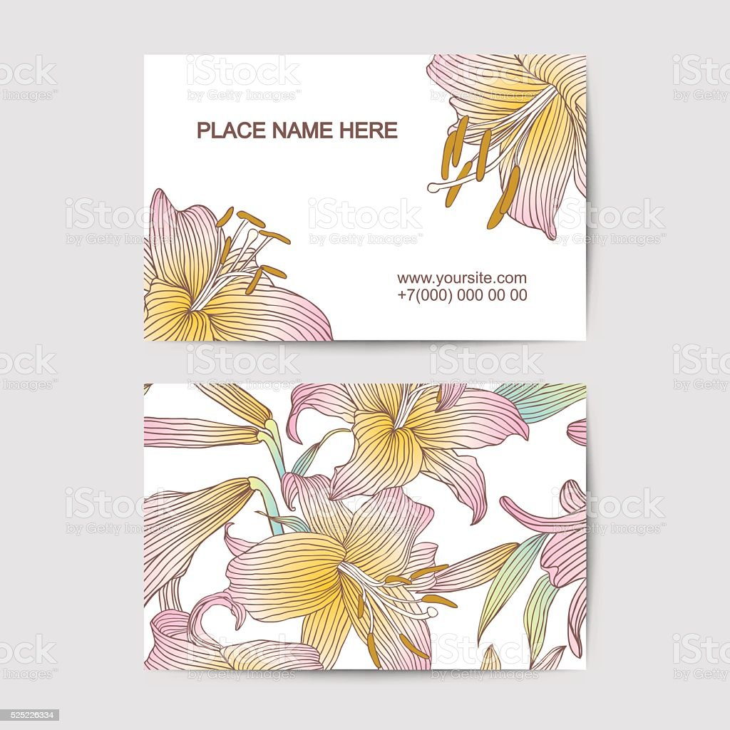 Visit Card Template With Lily Flowers For Florist Salon Stock Vector