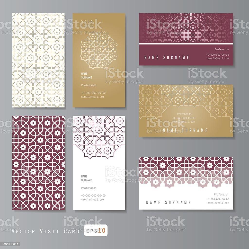 Conjunto de tarjetas de visita con adorno árabe - ilustración de arte vectorial