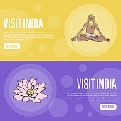 Visit India Touristic Vector Web Banners