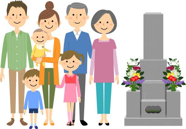 訪問の墓 - 家族 日本人点のイラスト素材/クリップアート素材/マンガ素材/アイコン素材