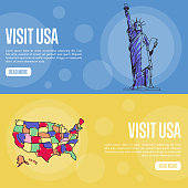 Visit USA Touristic Vector Web Banners