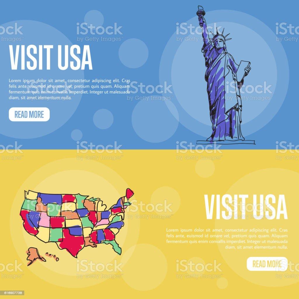 Visit USA Touristic Vector Web Banners vector art illustration