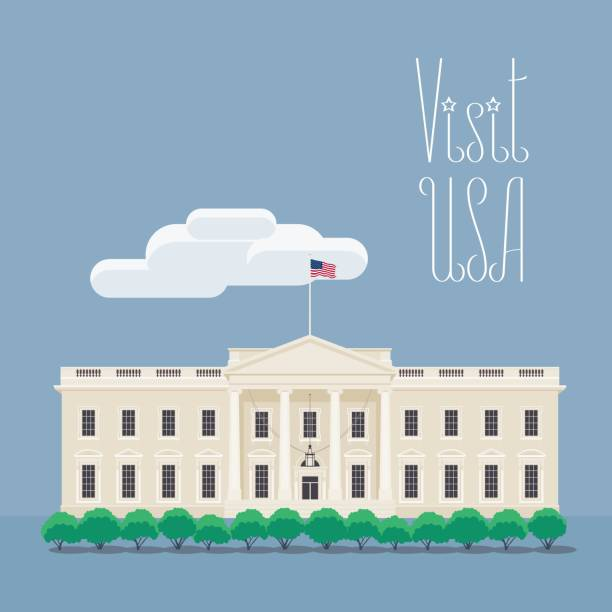 stockillustraties, clipart, cartoons en iconen met bezoek usa, washington afbeelding met witte huis vectorillustratie - white house