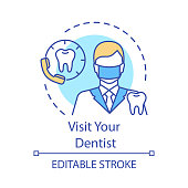 Visit your dentist concept icon. Make appointment with stomatologist. Telephone consultation with doctor idea thin line illustration. Vector isolated outline drawing. Editable stroke