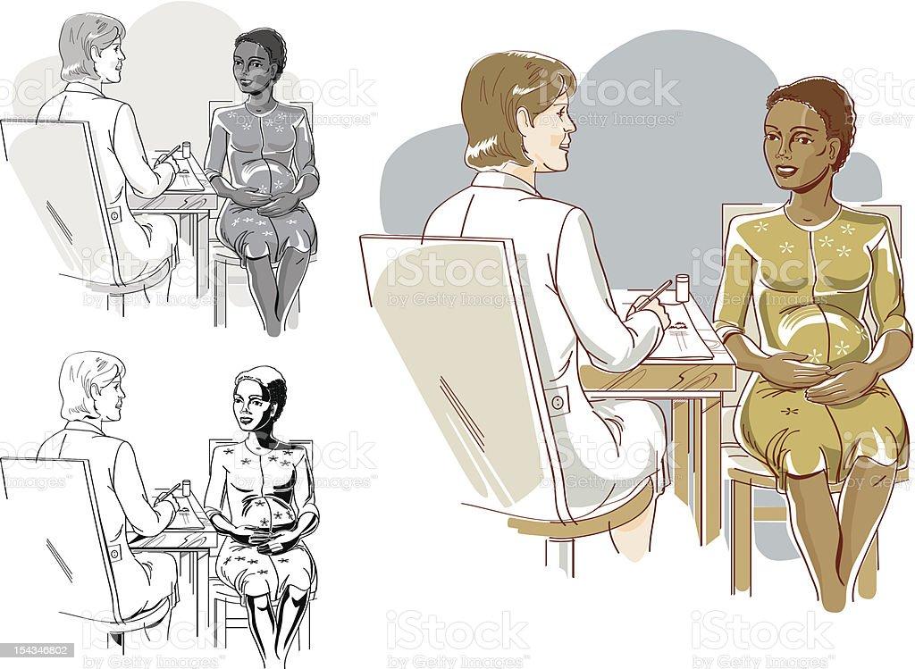 e208c24e2 Visite o seu médico regularmente para um saudável gravidez vetores de visite  o seu médico regularmente