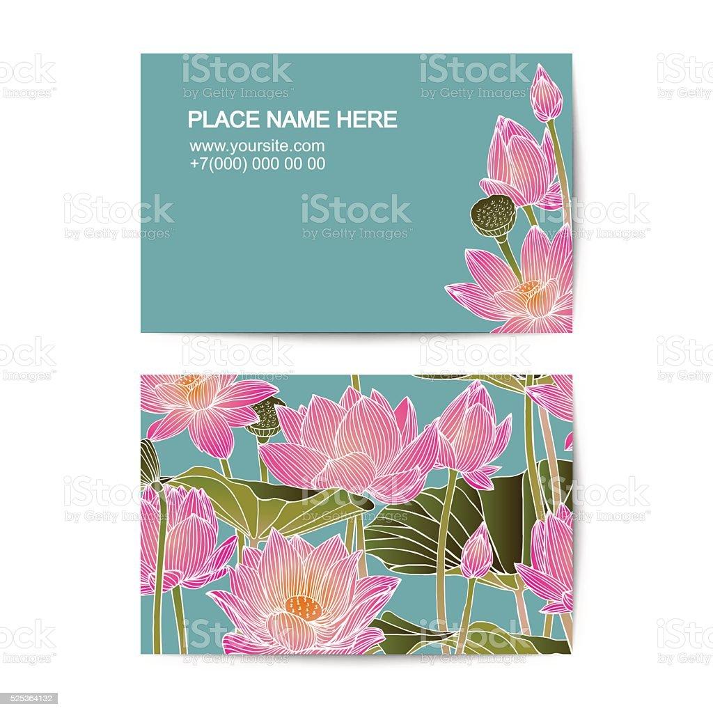 Modele De Carte Visite Avec Des Fleurs Lotus