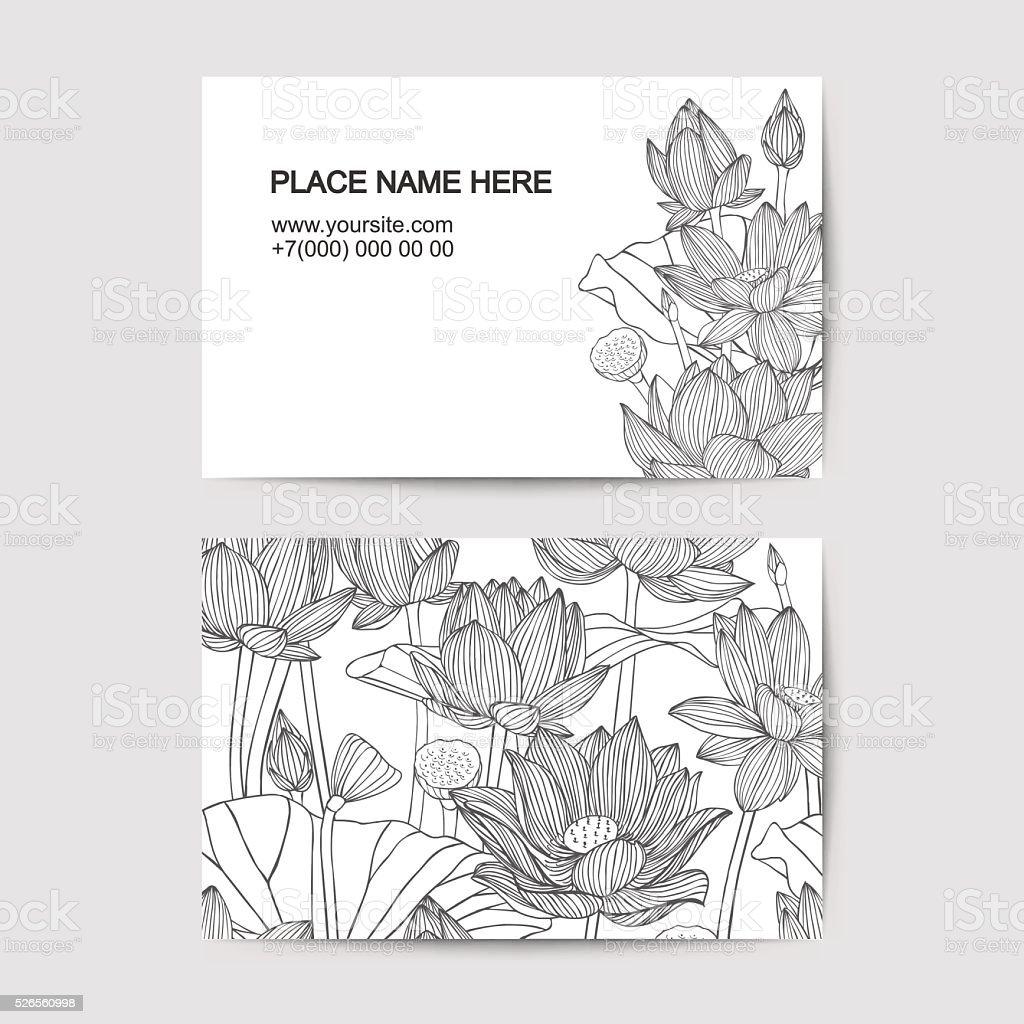 Modle De Carte Visite Avec Des Fleurs Lotus
