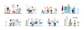 Visiting clinic flat vector illustrations set. Doctors, patients isolated cartoon characters on white background. Medical exam. Ophthalmologist, cardiologist, dermatologist, surgeon, pediatrician