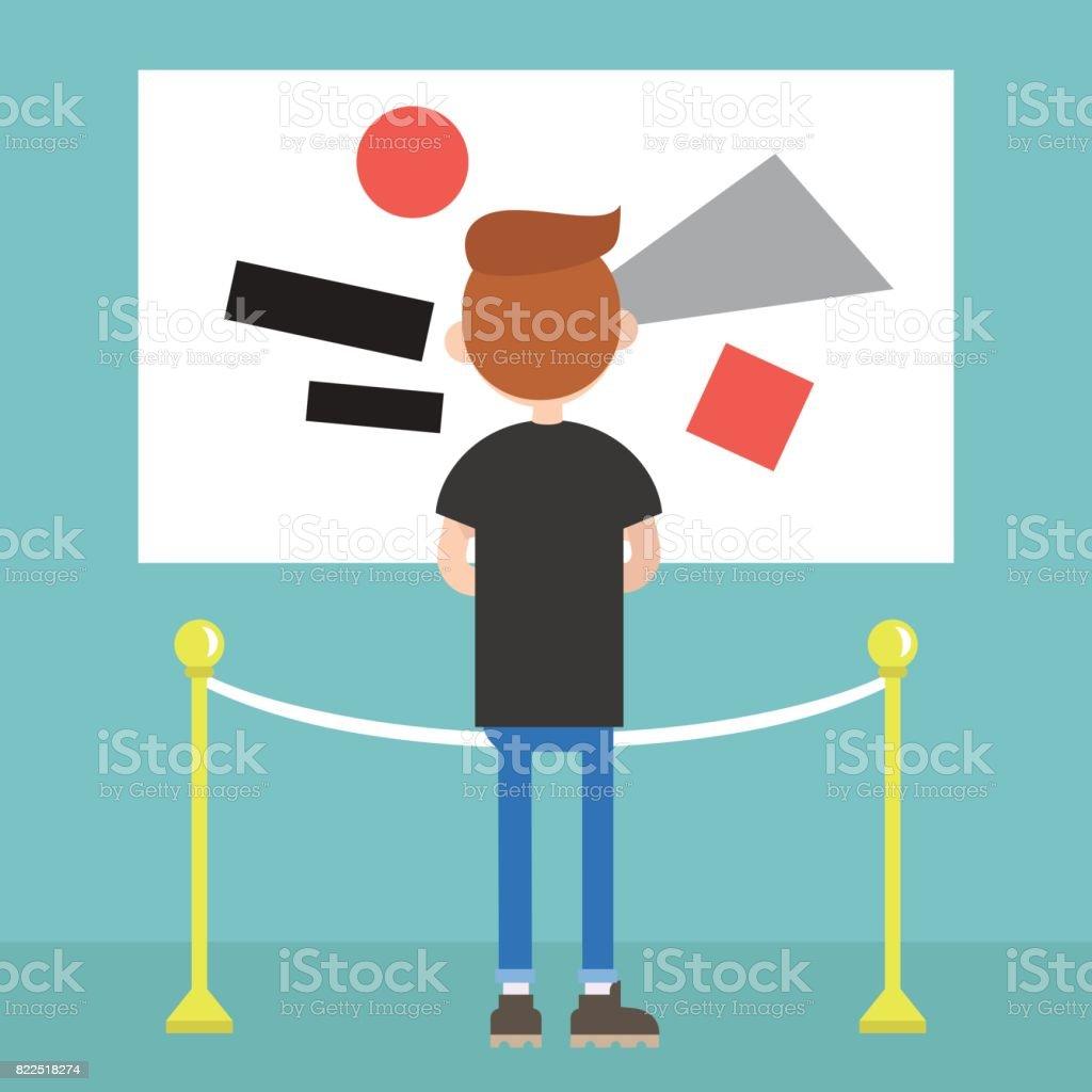 Visitor in a modern art gallery / flat editable vector illustration,...
