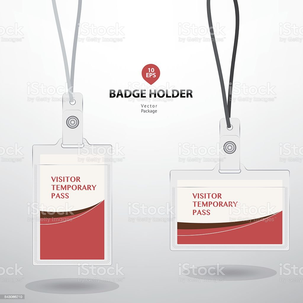 Visitor Temporary Pass Card And Badge Holder Stock