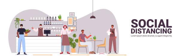 ilustrações de stock, clip art, desenhos animados e ícones de visitors in protective masks keeping distance to prevent coronavirus social distancing concept - covid restaurant