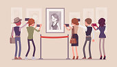 Visitors in the museum. Group of people enjoy heritage attractions, taking pictures with phones, watch a portrait of young woman at cultural interest exhibition. Vector flat style cartoon illustration