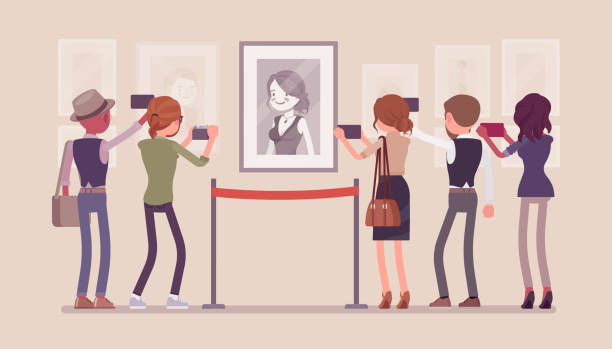illustrations, cliparts, dessins animés et icônes de visiteurs au musée - museum