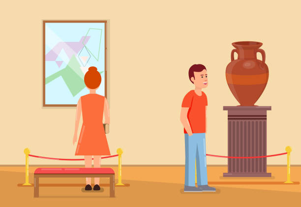 illustrations, cliparts, dessins animés et icônes de visiteurs à l'intérieur du musée - museum