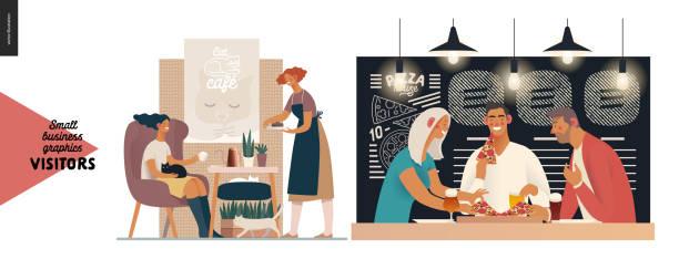 besucher - kleinunternehmen grafiken - pizzeria stock-grafiken, -clipart, -cartoons und -symbole