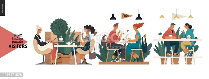 Visitors -small business graphics. Modern flat vector concept illustrations -set of illustrations showing customers eating inside of cafe, restaurant, bar or pub