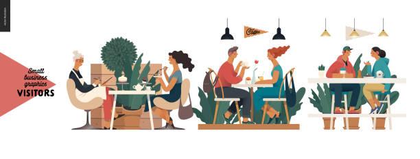 illustrazioni stock, clip art, cartoni animati e icone di tendenza di visitors - small business graphics - dinner couple restaurant