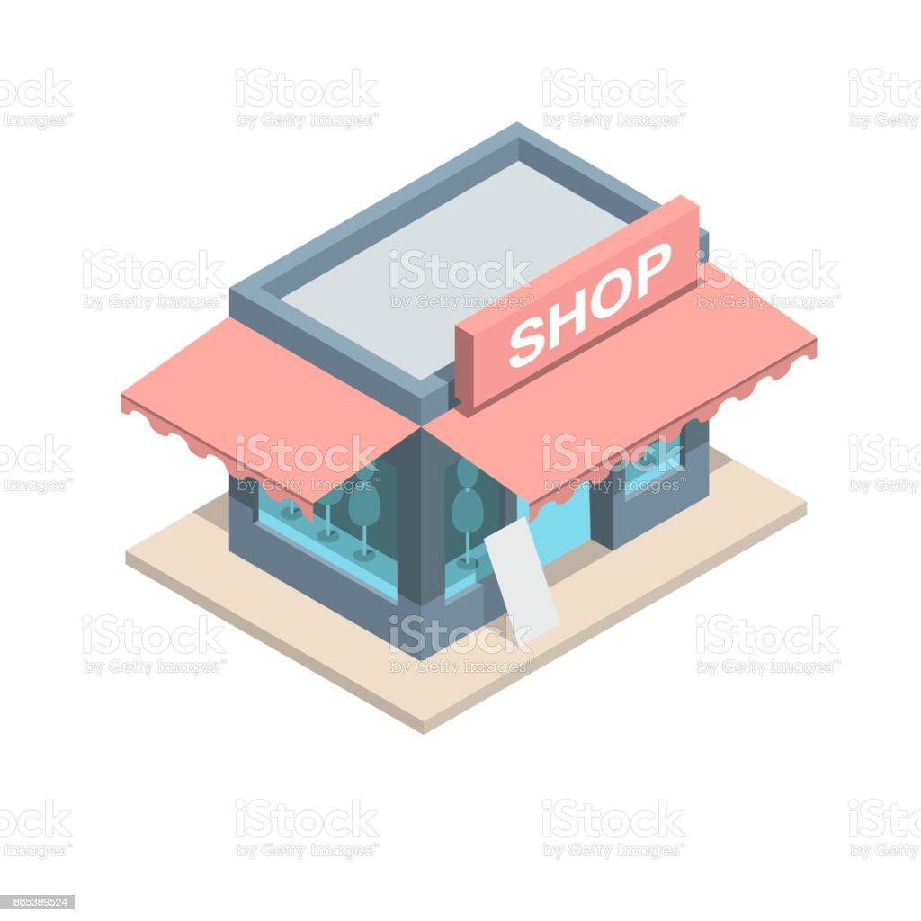 Vista isometrica de una tienda boutique. vector art illustration