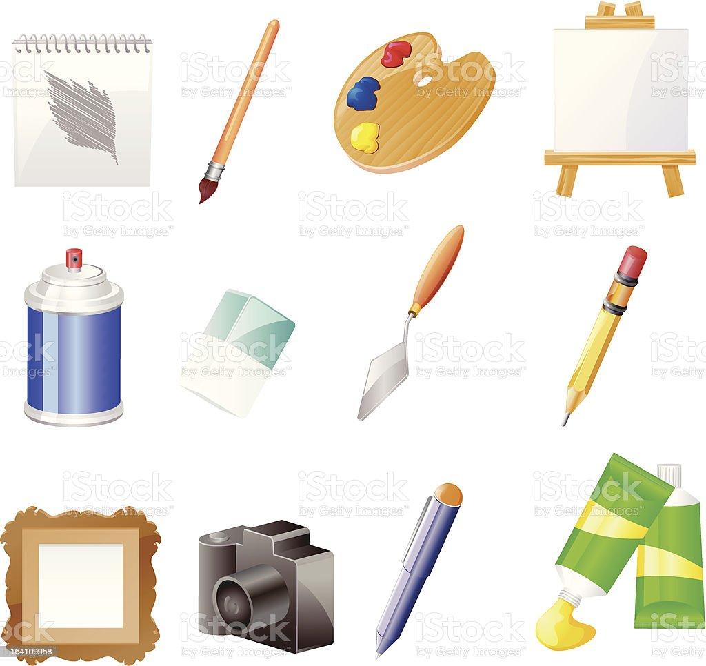 Visual Arts Objects vector art illustration